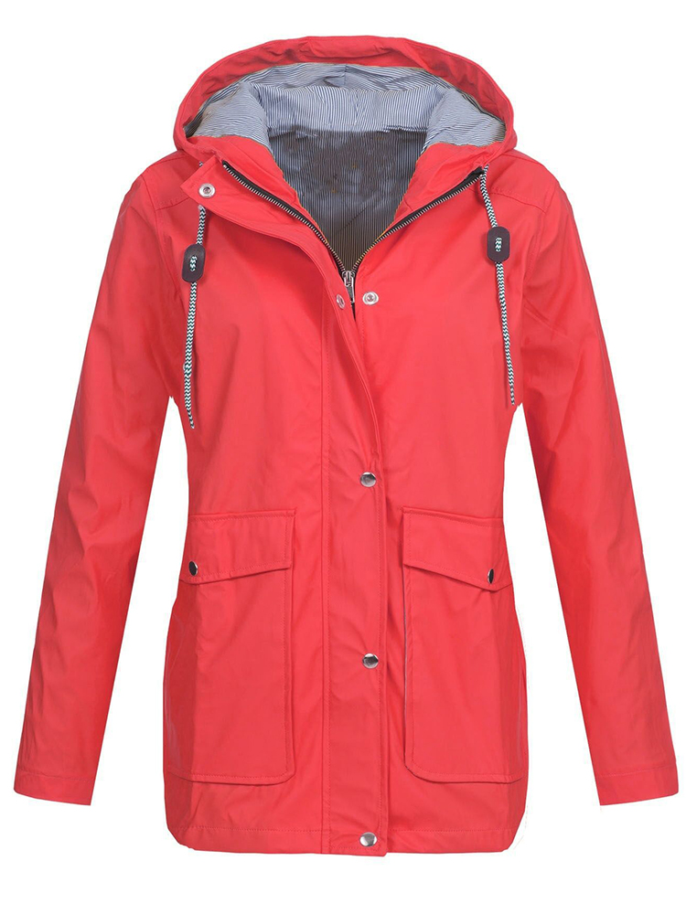 Pure Color Outdoor Zipper Button Jacket with Big Pockets