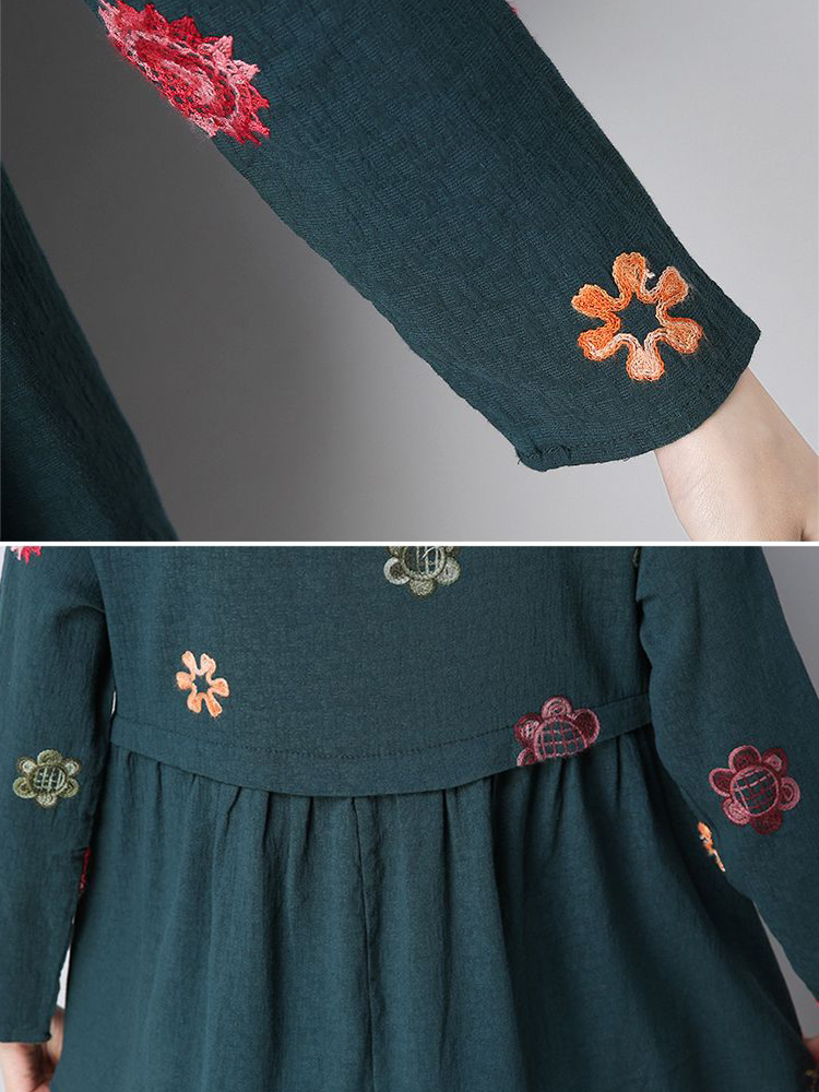 Ethnic Floral Embroidery O-neck Irregular T-shirt