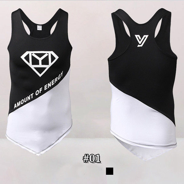 PRO Men's Elasticity Close Fitting Gym Vest Sports Running Quick Drying Sleeveless Tops Tees