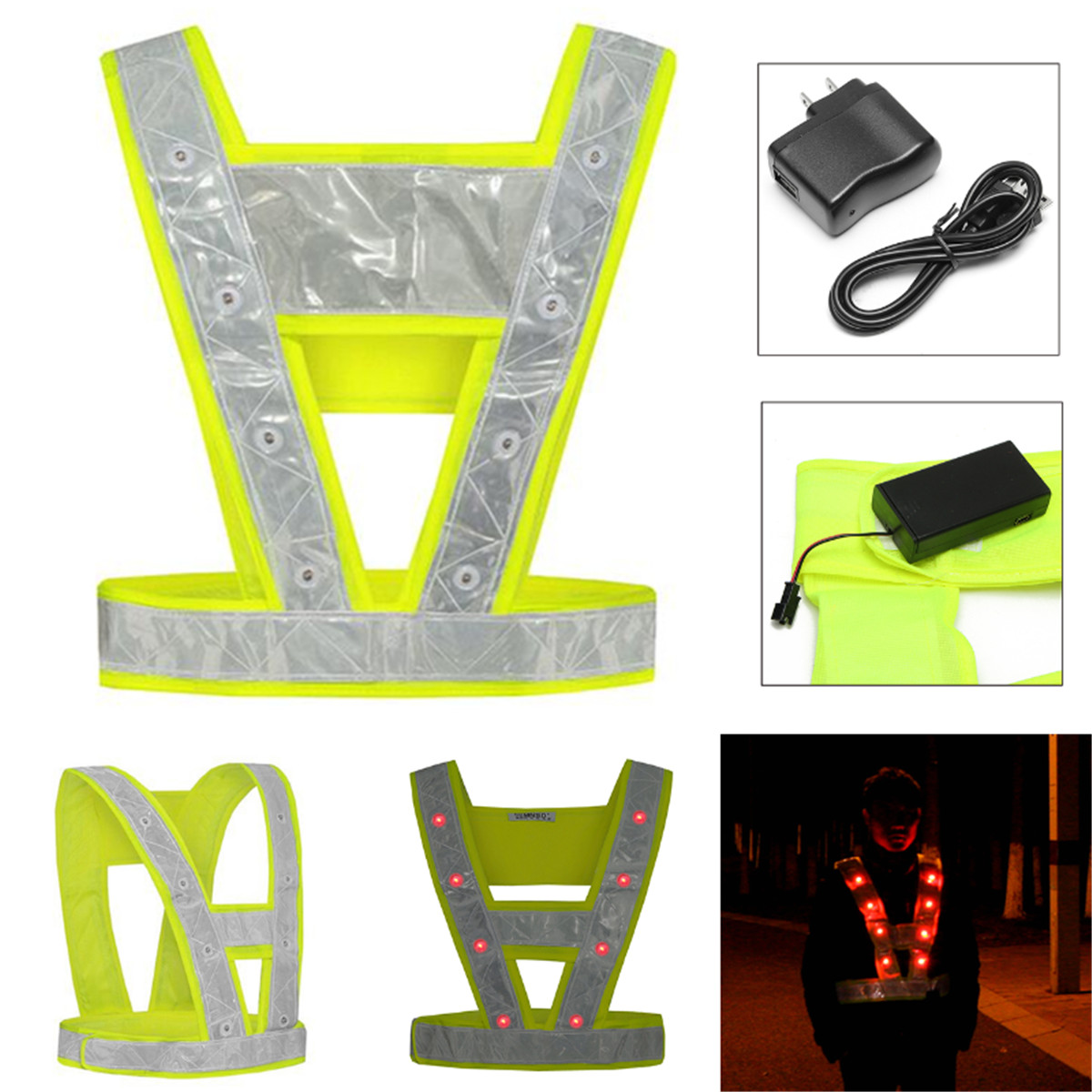 Cycling Running 16 LED Light Up Reflective Stripes Safety Vest High Visibility