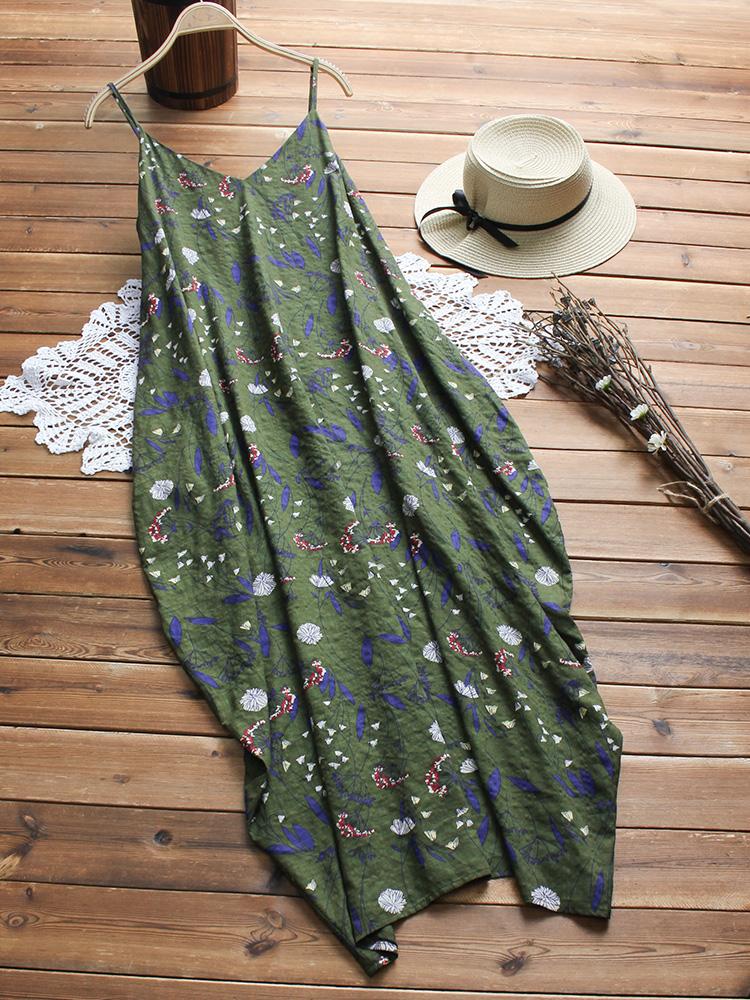 Plus Size Women Bohemian Spaghetti Straps Floral Dress