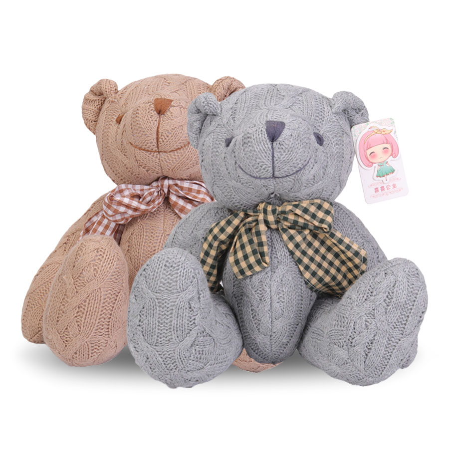 14 Inch Teddy Bear Stuffed Animal Knitting Plush Toy Doll Adjustable Joint for Kids Baby Christmas Birthday Gifts