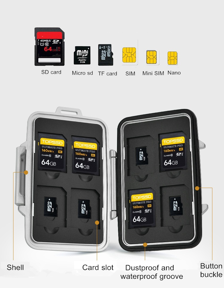 SW1301 PP Card Case Box Memory Card TF Card Storage Box Anti-shock Waterproof Protector Cover