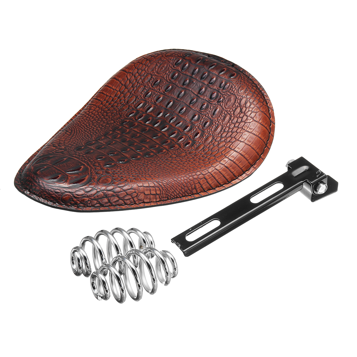 Brown Alligator Motorcycle Leather Solo Driver Seat For Harley Chopper Bobber