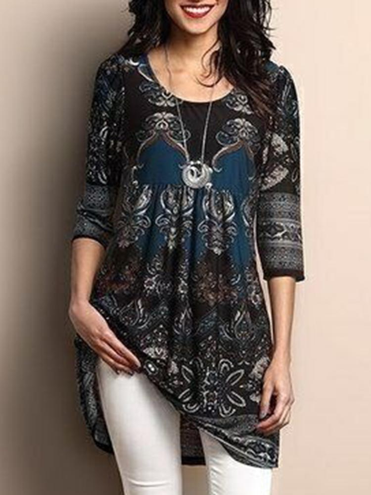 Women 3/4 Sleeve O-neck Floral Print Irregular Hem Blouse