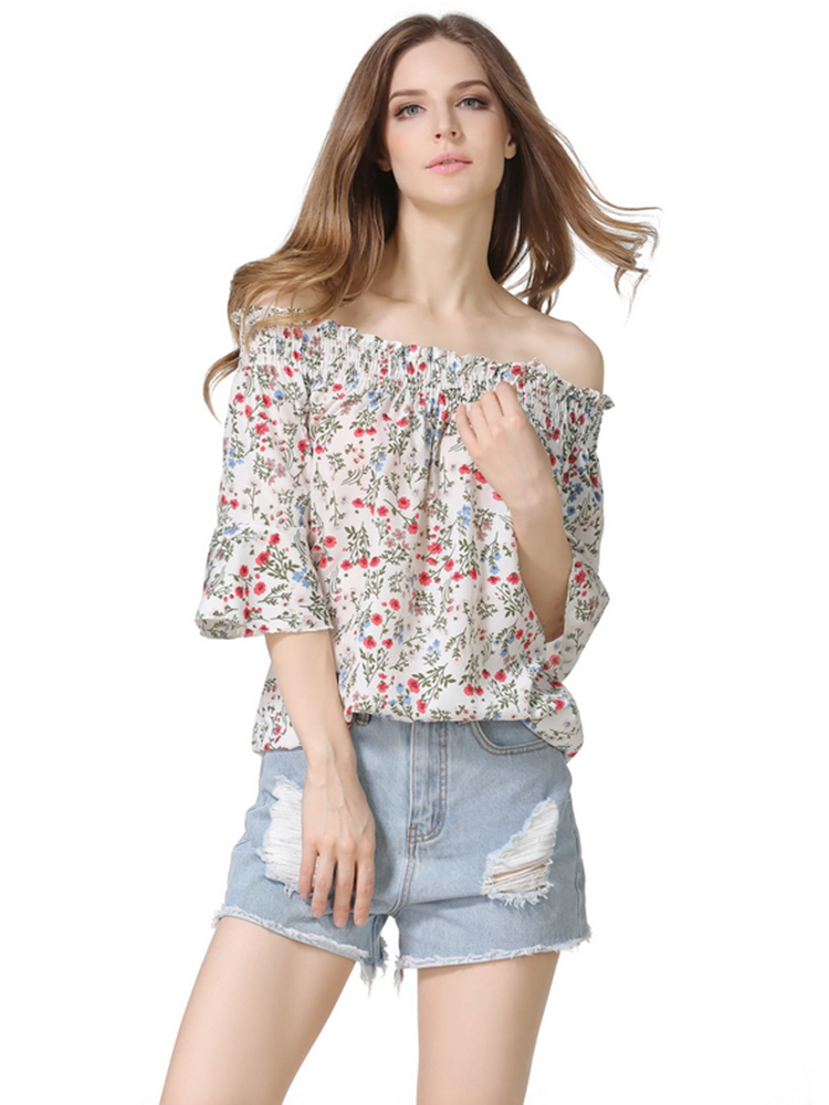Casual Women Floral Printed Off Shoulder Half Sleeve Blouse