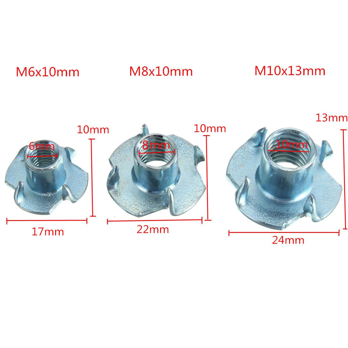 10pcs M6 M8 M10 Blue Zinc Mosaic Board Nut Four Claws Nut Inlaid Furniture