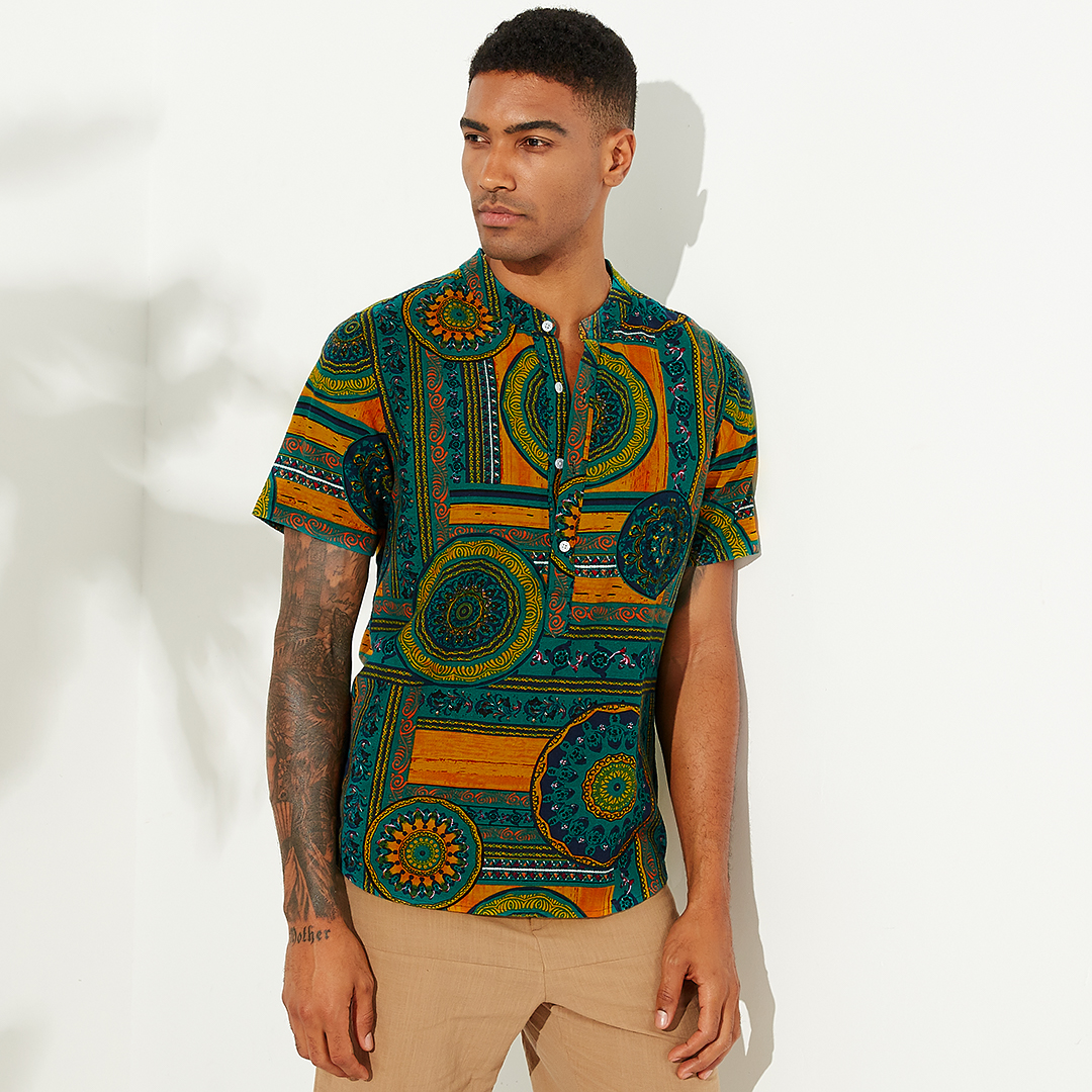 Mens Ethnic Style Printed Breathable Summer Henley Shirts