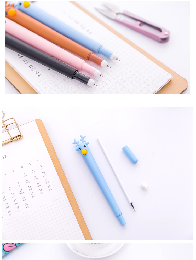 1Pcs Cute Rubber Reindeer Drawing Drafting Signing Pen Crafts Party gifting Gel Pen School Office