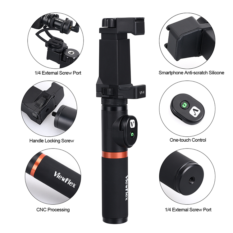 VIEWFLEX VF-H3 Bluetooth Electronic Video Grip Stabilizer with Smartphone Clamp Remote Control Handle for iPhone for Samsung for Huawei Smartphones