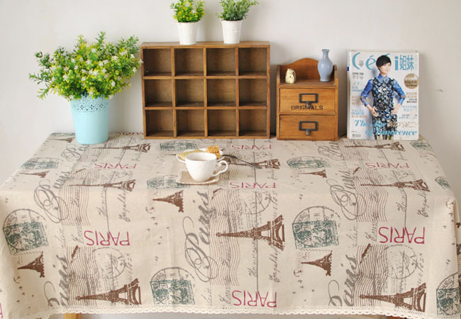 Paris Eiffel Tower Pattern Coffee Cotton Linen Tableware Mat Table Runner Tablecloth Desk Cover