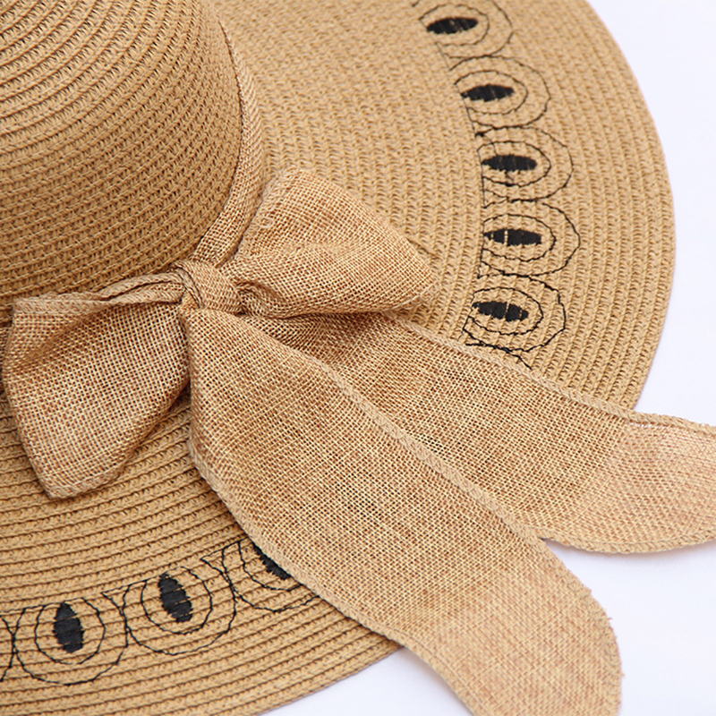 Women Outdoor Wide Brim Sunshade Straw Hat