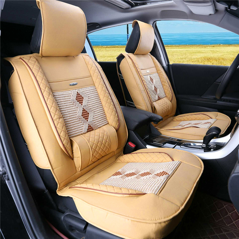 1Pcs PU Leather Car Front Seat Cover Cushion w/ Ice Silk Black/Beige Universal