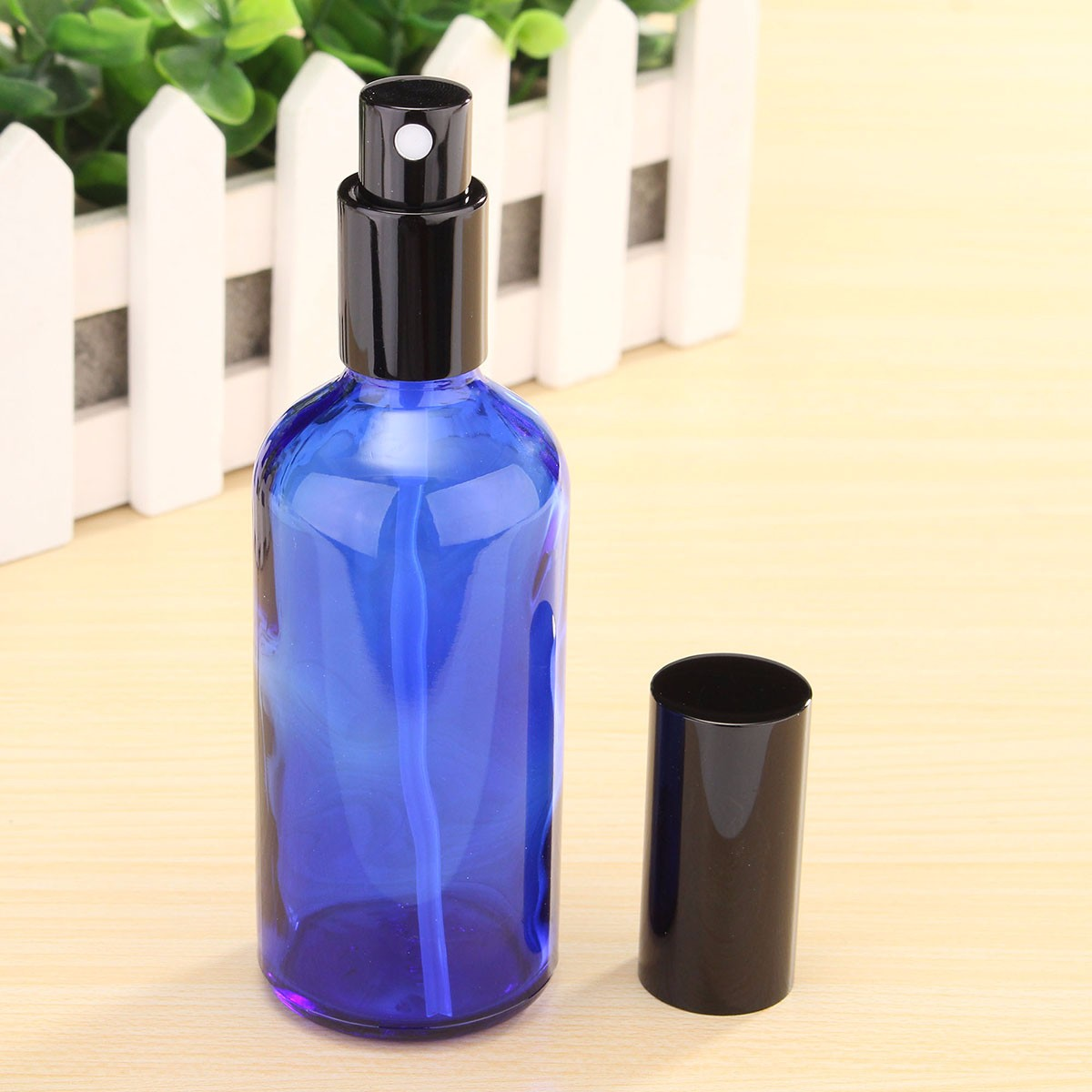 100ml Refillable Blue Glass Spray Bottle Perfume Essential Oils with Dropper/Pipette/Atomiser Cap