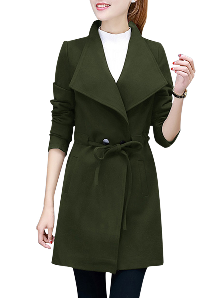 Casual Turn-Down Collar Solid Bandage Waist Woolen Women Coat