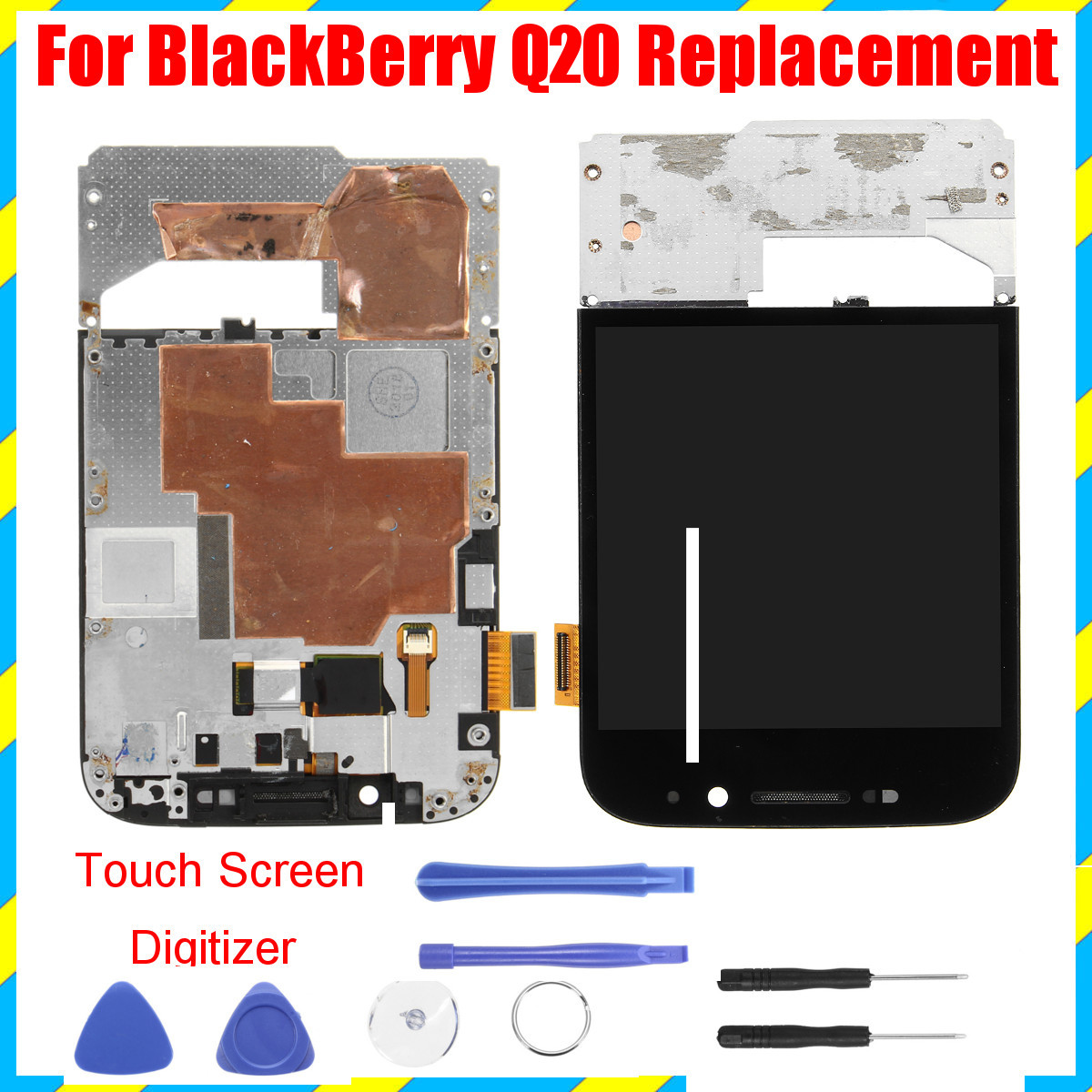 Touch Screen Digitizer LCD Display Assembly Replacement With Tools for BlackBerry Classic Q20