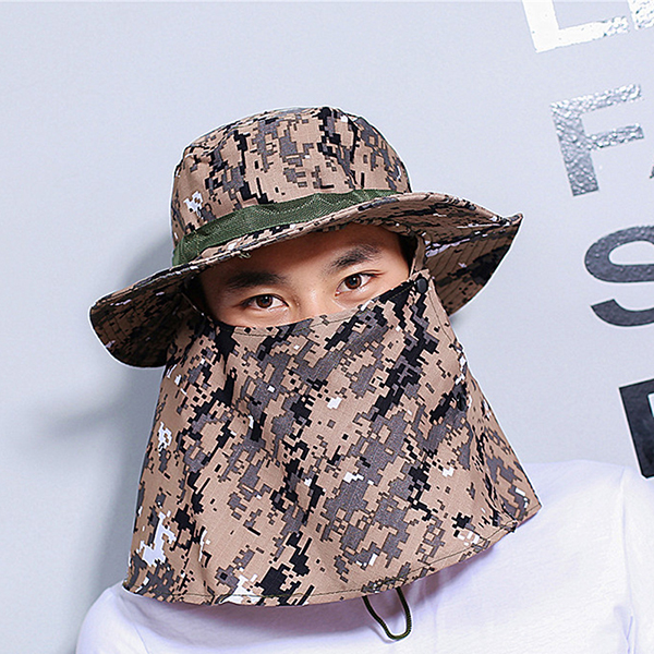 Mens Camouflage UV Protection Face Nack Protactive Fisherman Cap Outdoor Visor Bucket Hat