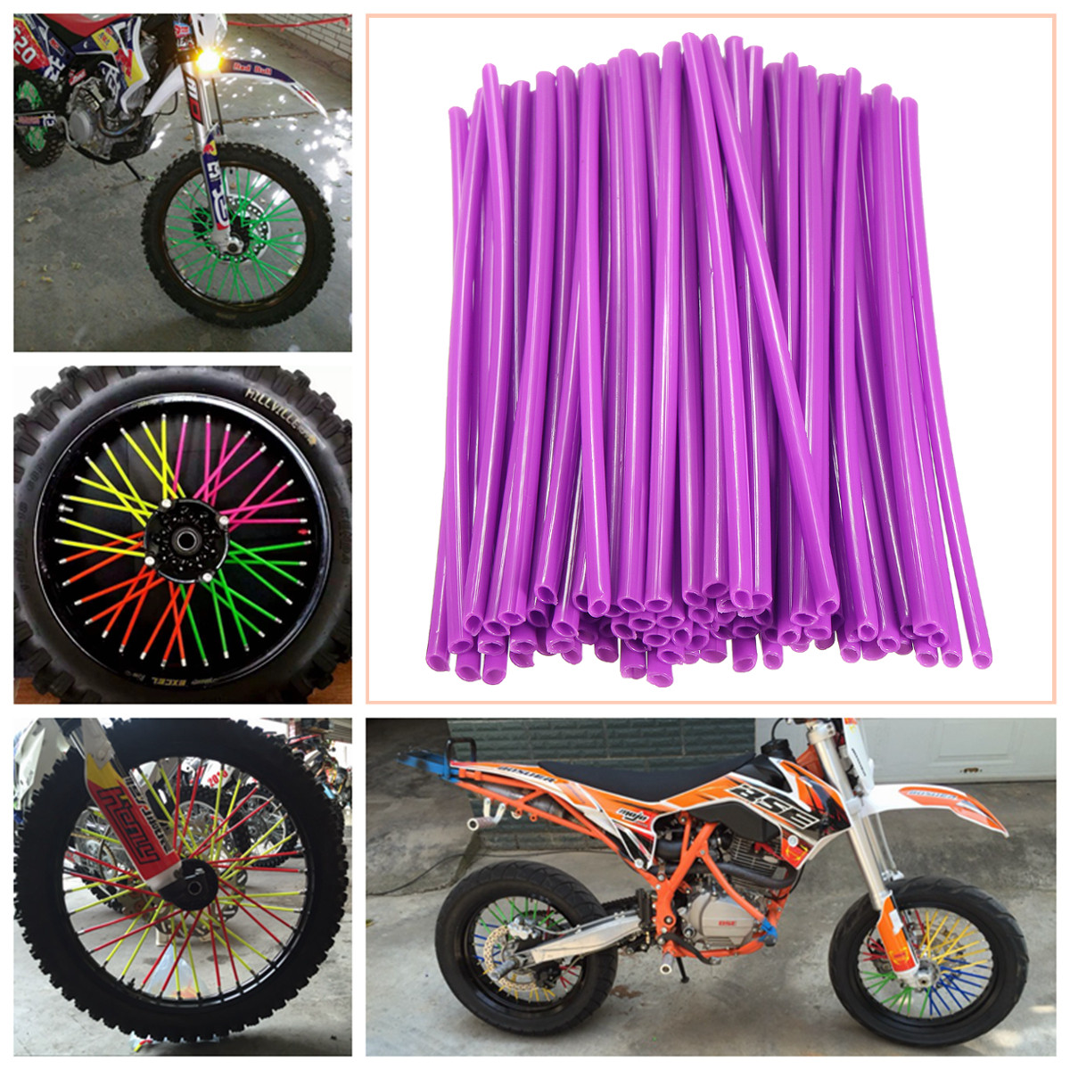 Wheel Spoked Wraps Skins Universal Trim Cover Pipe For KTM SX SXF XC Motocross Pit Dirt Bike