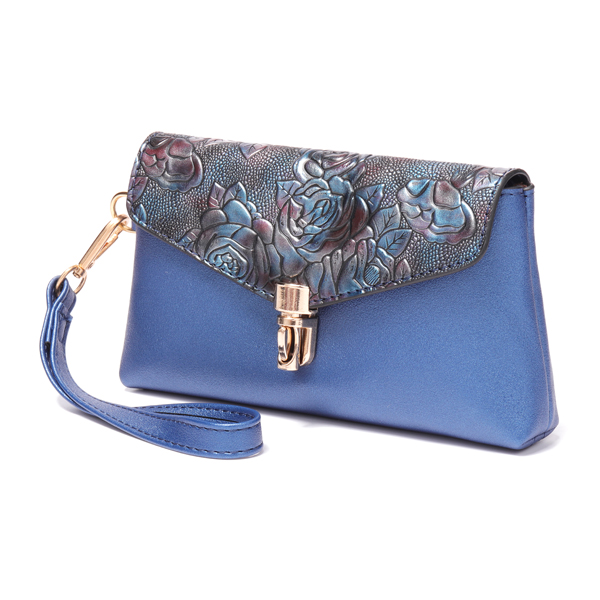 Brenice Women Vintage PU Leather Floral Embossed Clutch Bag