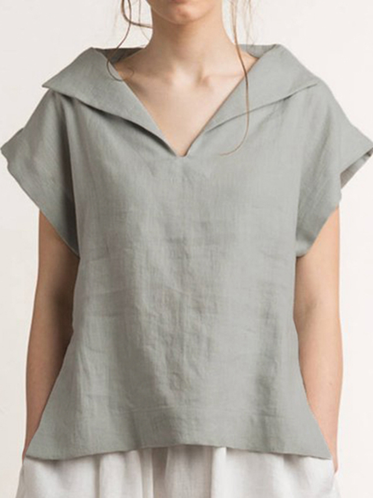 V-Neck Short Sleeves Solid Color Cotton Linen Tunic Blouse