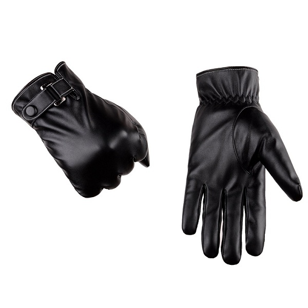 Men PU Leather Thick Warm Gloves Outdoor Casual Driving Windproof Touch Screen Mittens