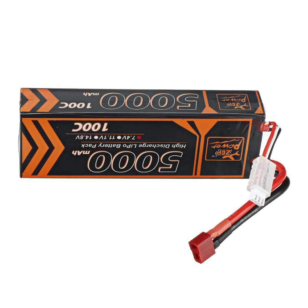 ZOP Power 7.4V 5000mAh 100C 2S  Lipo Battery T Plug for RC Car