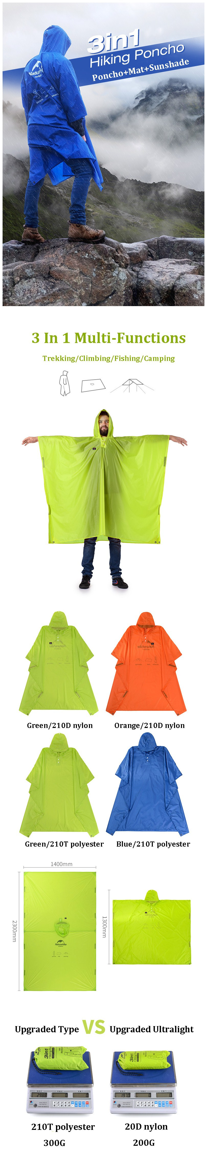 Naturehike NH17D002-M 3 in 1 Portable Hiking Poncho Raincoat Backpack Cover Camping Mat Sunshade