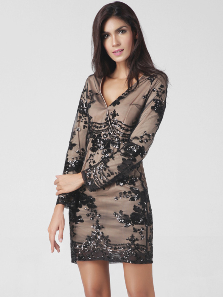 Lztlylzt Women Sexy Sequins V-neck Long Sleeve Patchwork Mini Dress