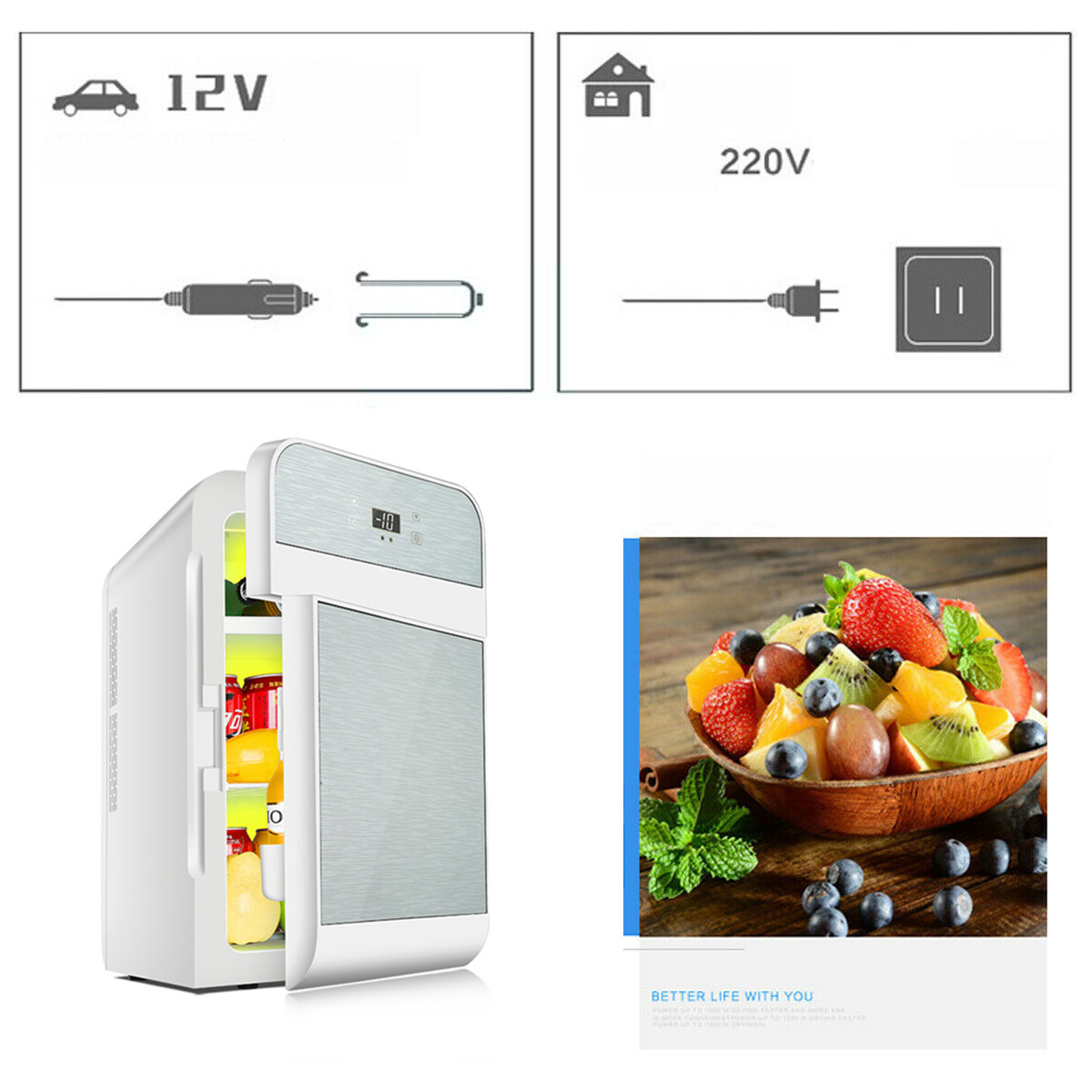 20L Single Dual-core Car Mini Fridge Travel Cool & Warmer Home Refrigerator 220V/12V