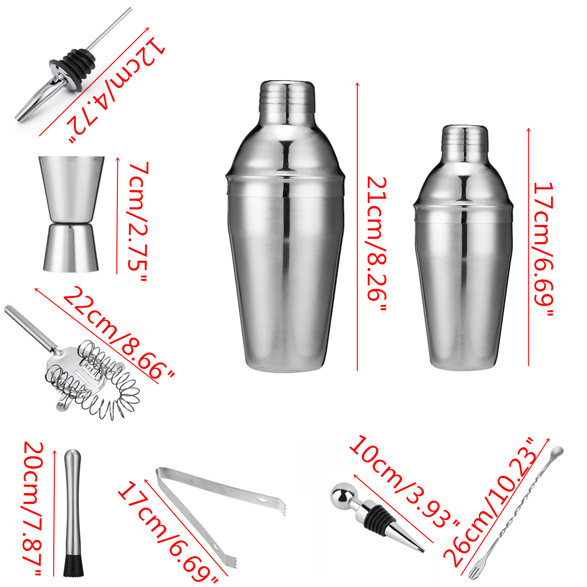 10Pcs 350/550ML Stainless Steel Cocktail Shaker Set Kit Wine Drinking Mixer Bar