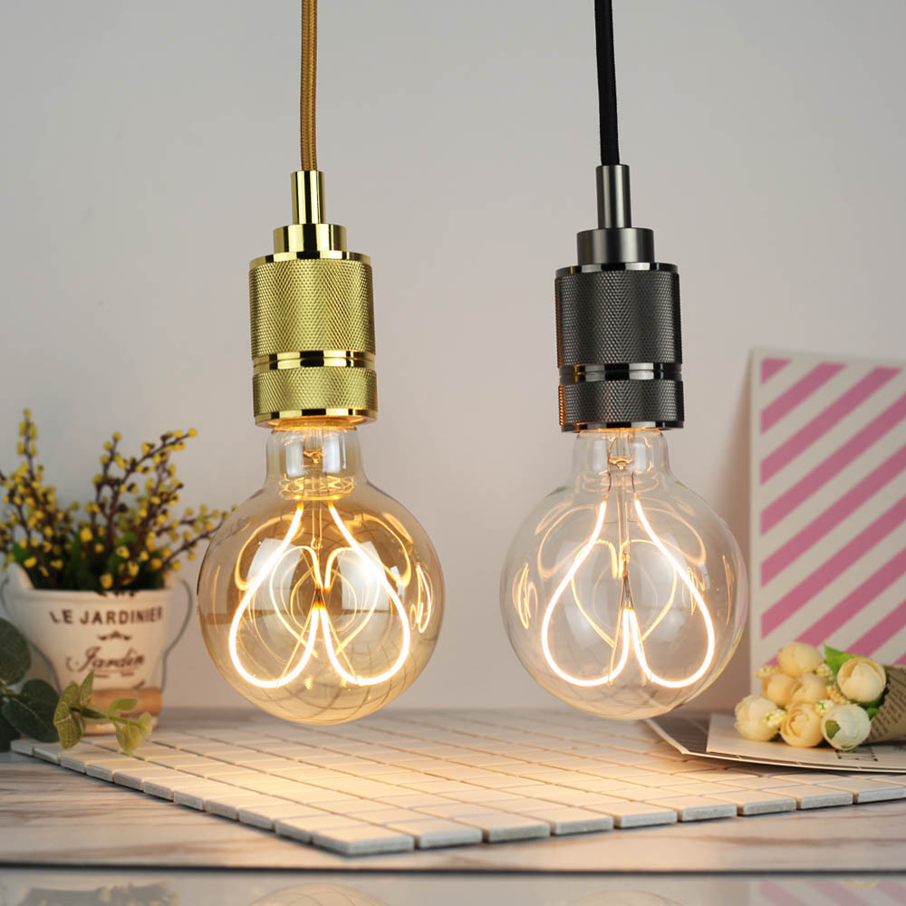 E27 4W G95 Dimmable Clear Gold Warm White Heart-Shaped Edison LED Light Bulb AC110-130V AC220-240V