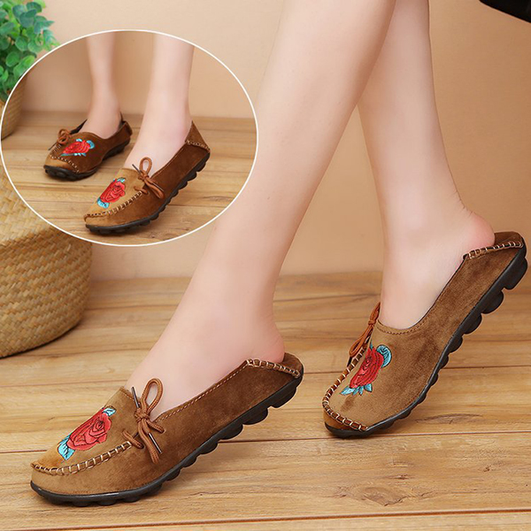 Flat Loafers Soft Comfortable Embroidery Shoes