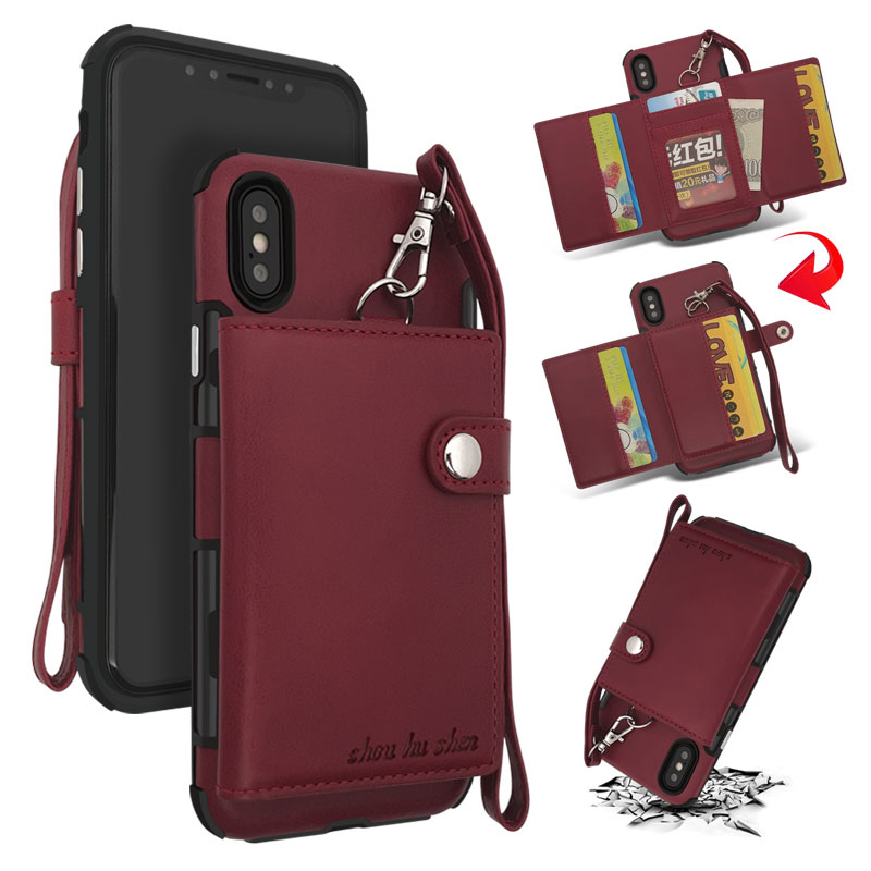 Bakeey Wallet Protective Case With Strap For iPhone X P