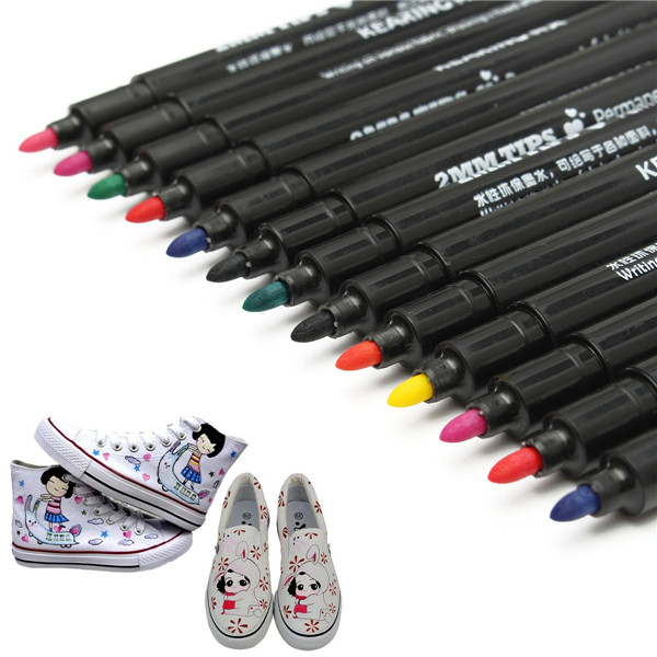 13 Colors Permanent T-Shirt Marker Pen Fabric Paint Pen Cloth Shoes DIY Graffiti