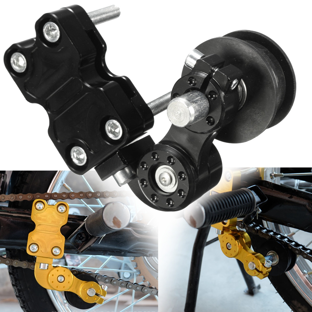 Universal Chain Tensioner Tool Roller Aluminum Adjuster For Motorcycle