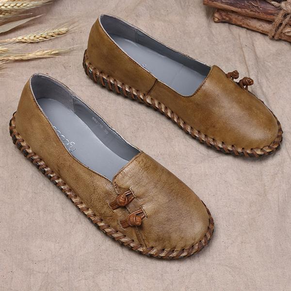 bfa934e1172 socofy retro soft flat leather shoes at Banggood