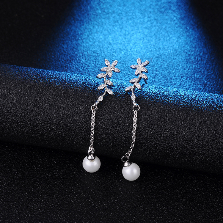 Temperament Flowers Pearl Earrings Long Zircon 925 Silver