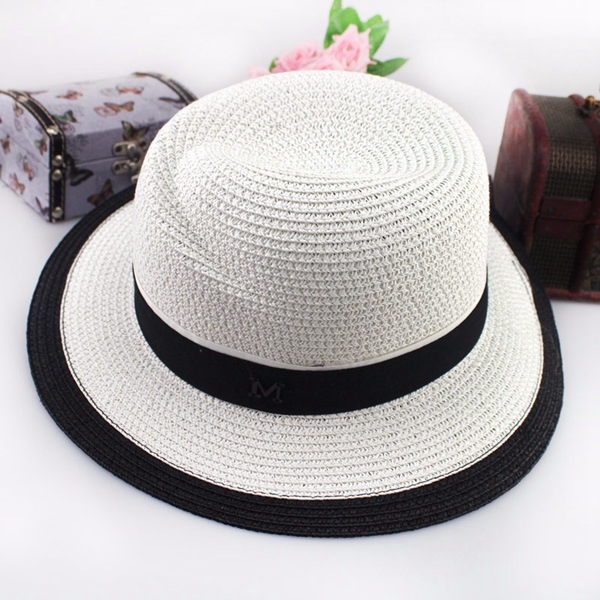 Women Straw Hat British Style Black White Jazz Large Brimmed Sun Beach Hat