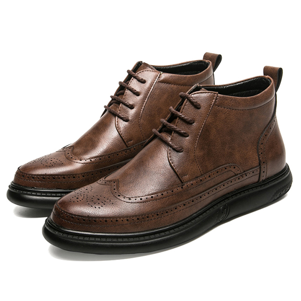 Men Casual Brogue Style Microfiber Leather High Top Ankle Boots