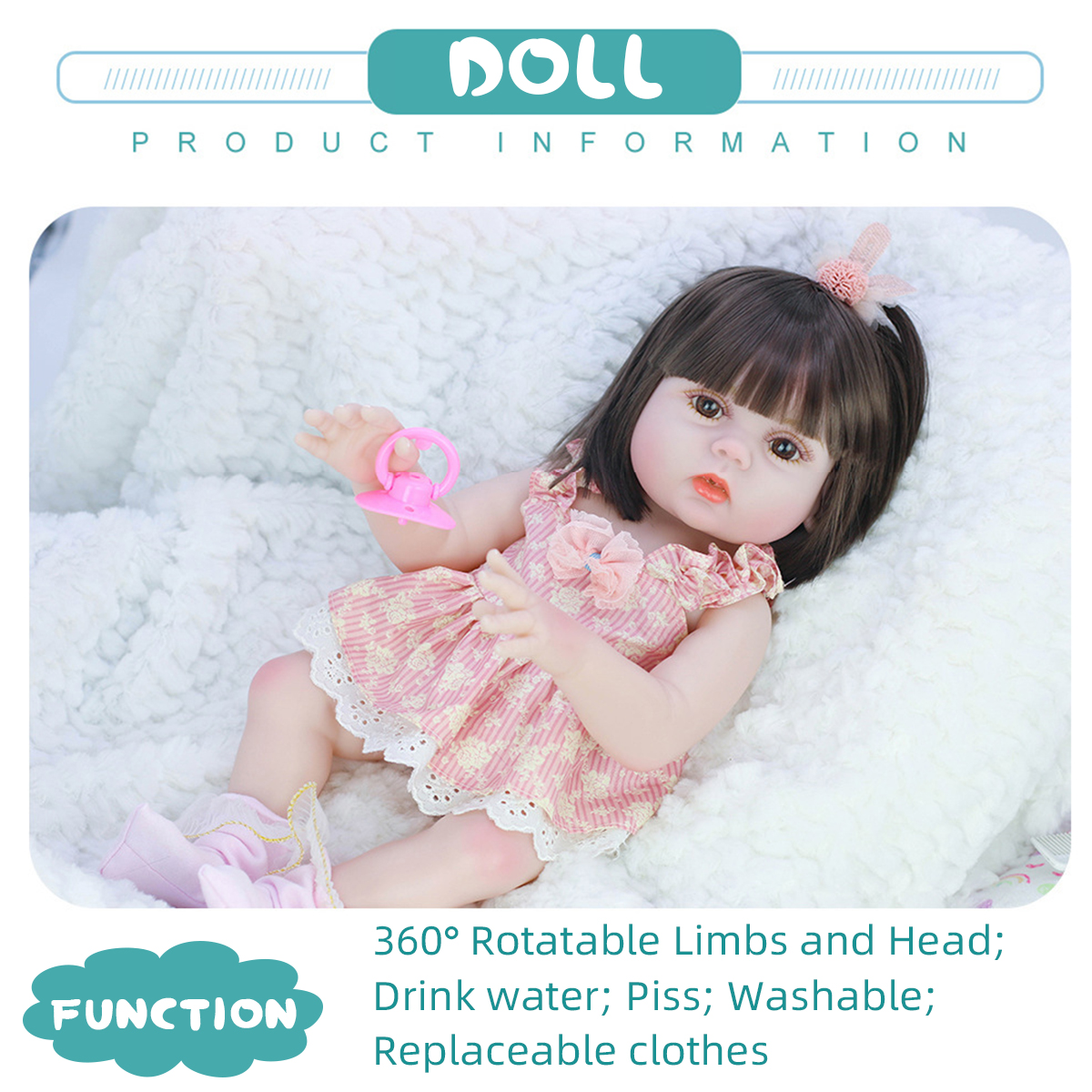53CM Cute Soft Silicone Vinyl Lifelike Realistic Head Moveable Multi-function Reborn Baby Doll Toy - Photo: 5
