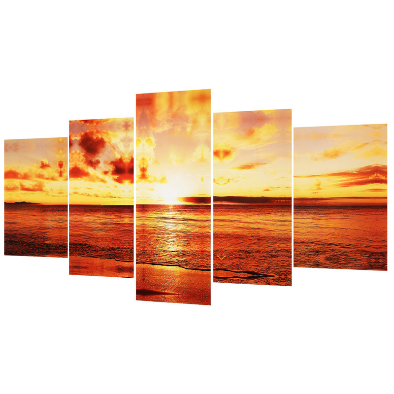 5 PCS/Set Large Seaside Sunset Canvas Wall Art Print Painting Picture Unframed Wall Paper