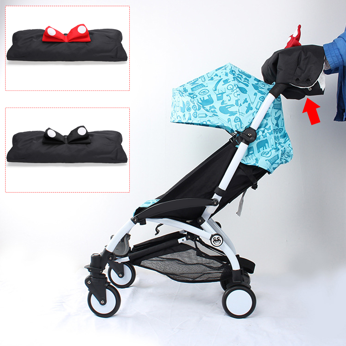Winter Baby Pram Stroller Jogger Hand Muff Waterproof Finger Gloves Warmer