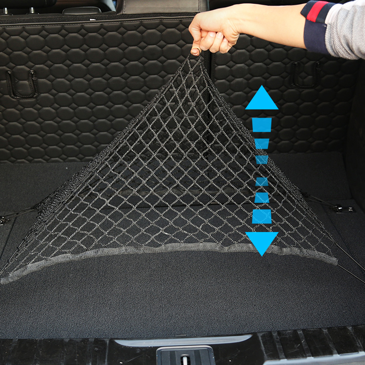 Universal 70X70cm PP Car Rear Trunk Storage Net Rear Cargo Elastic Mesh Organizer