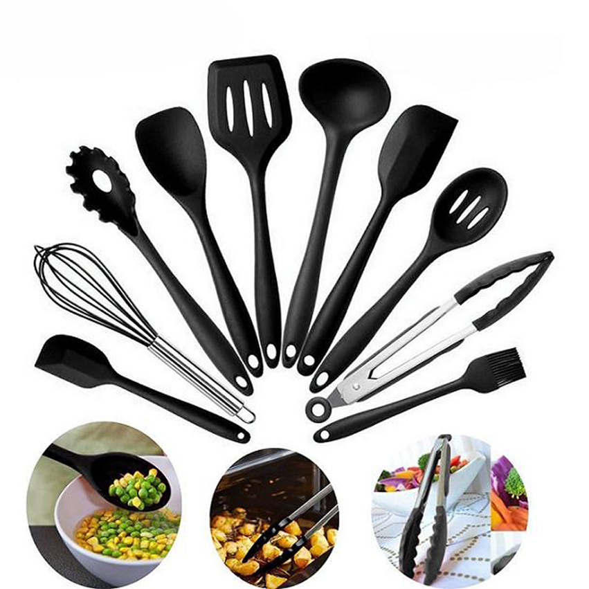 10pcs Silicone Non-Stick Heat Resistant Cooking Silicone Spoon Cooking Spatula Pasta Fork Kitchen Utensils Gadget Tool Accessories Set