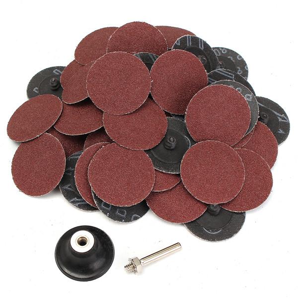 50pcs 80 Grit 2 Inch Roll Lock Sanding Disc Abrasive Tool
