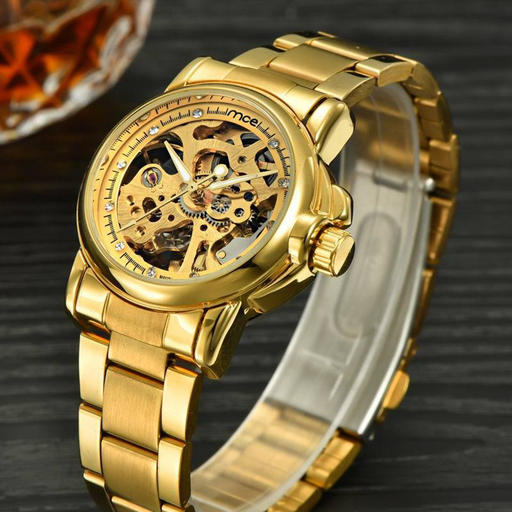 Crystal Men Wrist Watch Full Steel Mechanical Watches