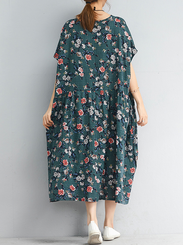 Vintage Floral Print O-neck Short Sleeves Loose Dress