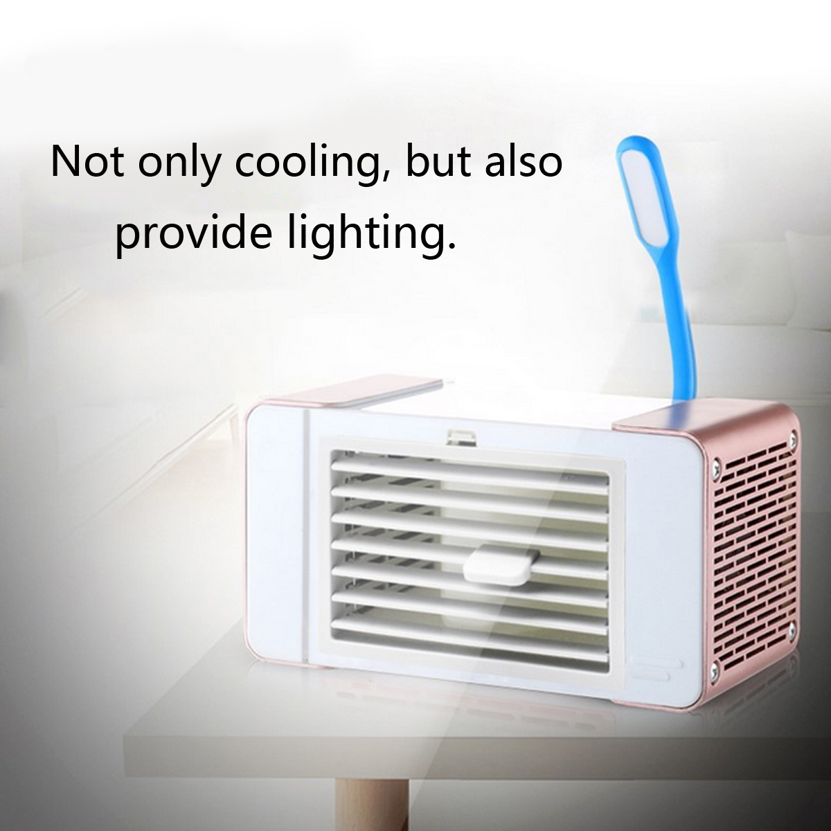 DC 5V USB Mini Space Cooling Fan Air-conditioning Fan Silent Cooler with Lamp Home Office