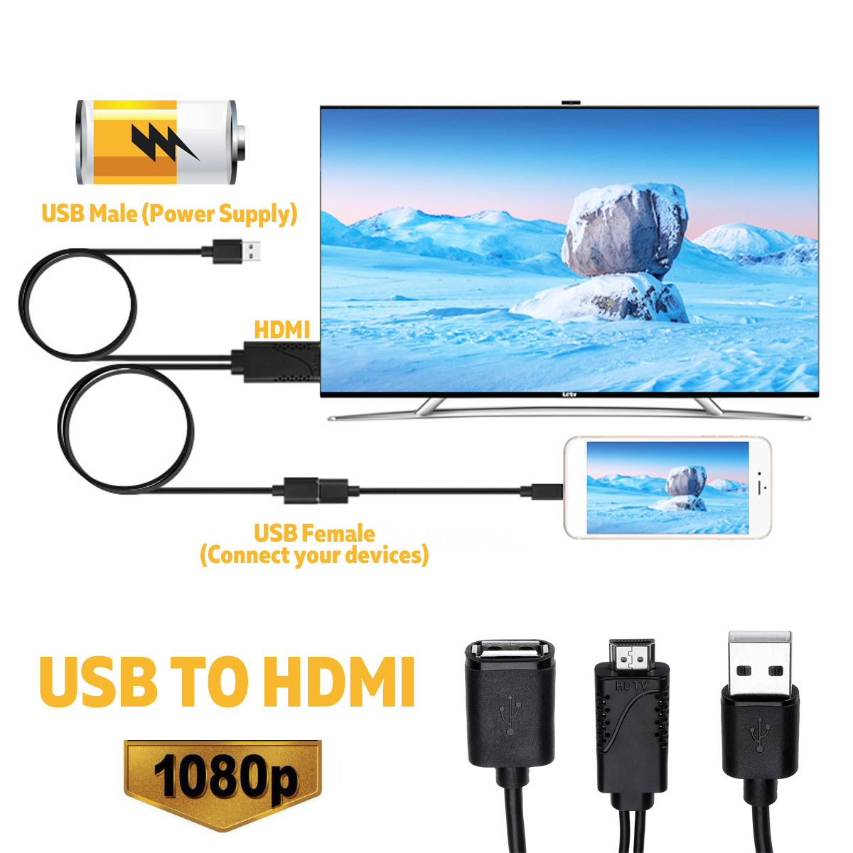 2 in 1 USB Female To HDMI Male HDTV Adapter Cable For HDTV Projector Displays