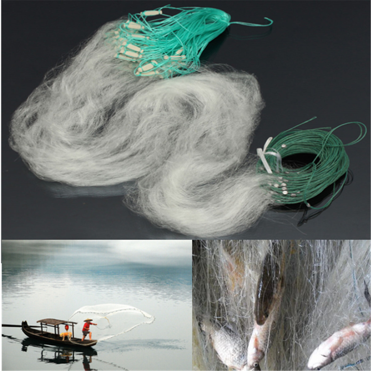 30M x 1.2M Clear White Fishing Fish Trap Monofilament Gill Net Nylon Silk Nets